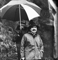 "Behind-the-scenes shot of Jeremy Brett and David Burke from ""The Final Problem."""