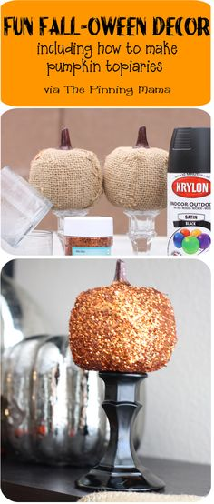 How to make pumpkin topiaries. Easy and cute fall decor made with dollar store supplies! www.thepinningmama.com