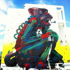 New Aryz mural in Réunion –full story @ http://www.juxtapoz.com/Street-Art/new-aryz-mural-in-reunion –#Aryz #Mural #Street #Public #Art
