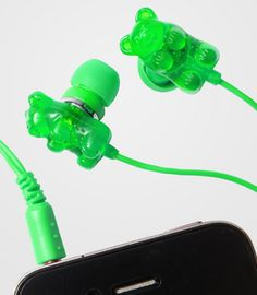 gummy bear earbuds! green is apple scented.