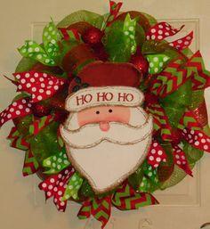 Burlap Santa Lime and Red Christmas Mesh Wreath with Polka Dot and Chevron Ribbon on Etsy, $70.00