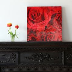 Red roses Canvas art 12/12 by OneDesign4U on Etsy, $39.00
