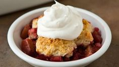 An easy cobbler recipe using tangy rhubarb.- I've been wanting to try a rhubarb dessert!