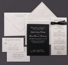 Our black invitation is shown here engraved in oyster ink.