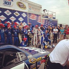 """Photo by @hendrick88team on Instagram: """"#DaleJr congratulating @KaseyKahne in VL"""" at New Hampshire Motor Speedway on July 15."""