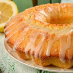 A Delicious bundt cake recipe, served topped with a lemon glaze.