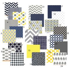 Baby Boy Color Palette Idea-  Custom Crib bedding - Navy, Yellow and Grey. $215.00, via Etsy.