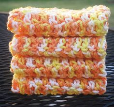 Crochet Washcloths - Candy Corn - Free Pattern