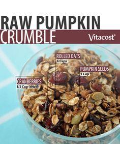 Raw Pumpkin-Cranberry Crumble #Vitacost #Recipe #Pumpkin #Fall #Raw