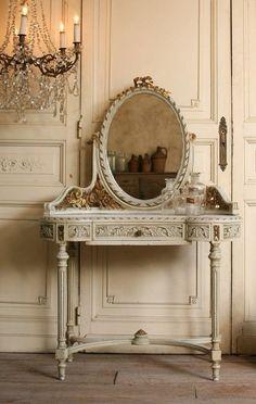 Louis XVI French Vanity & Mirror Gilt Roses