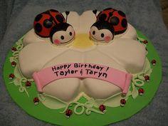 twin ladybug, cake idea, ladybug cakes, alyssa cake, birthday cake, twins, ladi bug, parti idea, bday cake