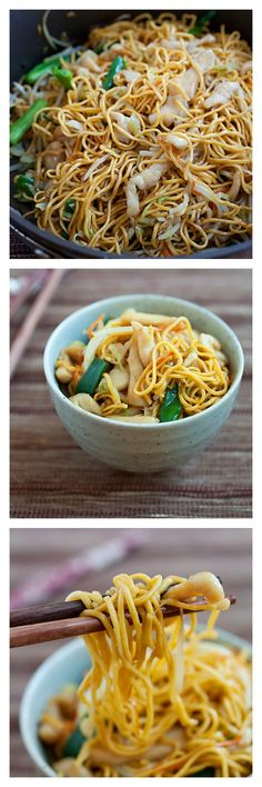 Crazy Delicious Chicken Chow Mein. Try this easy 15-minute recipe and you'll never need another Chinese takeout | Follow http://pinterest.com/rasamalaysia now!