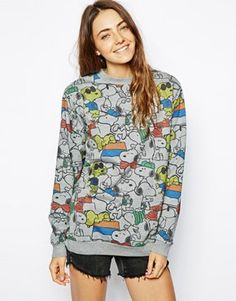 ASOS Sweatshirt with All Over Snoopy Print and Sequins