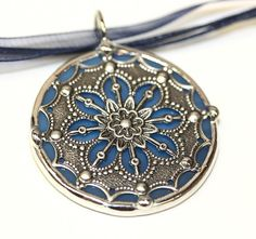Round Stained Glass and Filigree Pendant by colorshoppestudio