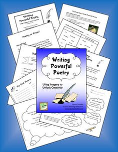 $ Writing Powerful Poetry: Using Imagery to Unlock Creativity - Includes teaching strategies and printables to implement a poetry workshop in your classroom. Your students will learn to express themselves through imagery and free-verse poetry. Includes poetry examples to make the experience easy for you and powerful for your students. If you've never taught free-verse poetry before, get ready for an exciting adventure! You may preview the entire ebook to make sure it is right for your class.
