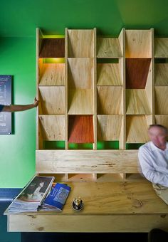 Plywood wall and bench.