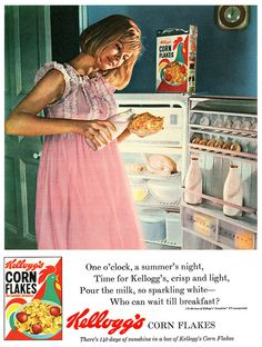 Cornflakes: a 1960s approved midnight snack. #vintage #retro #food #1960s #cereal #ad