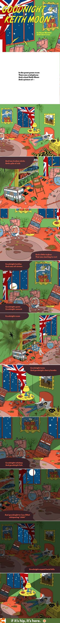 Goodnight Keith Moon. A hilarious parody of the children's classic bedtime story.