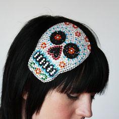 Rhinestone sugar skull fascinator, Dia de los muertos
