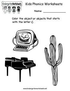 Kindergarten Kids Phonics Worksheet Printable