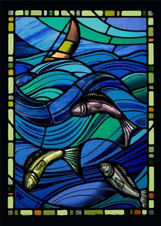 stained glass sea panel by stephen-weir