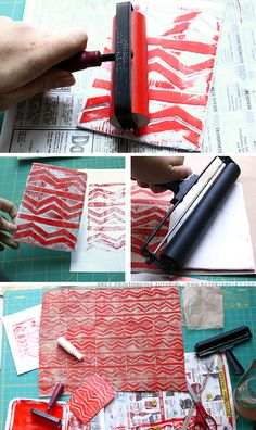 easy relief printmaking-another wrapping paper idea
