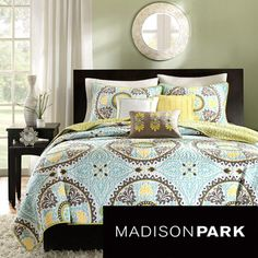 @Overstock.com - Get a taste of Indonesia in the bedroom with the Bali Coverlet Collection. The polyester microfiber coverlet and shams feature dusty shades of green, teal, brown and yellow in this beautiful medallion motif. http://www.overstock.com/Bedding-Bath/Madison-Park-Bali-6-piece-Coverlet-Set/7827994/product.html?CID=214117 $89.99