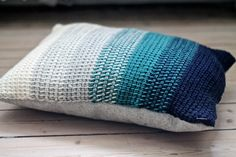 Crocheted ombre pillow