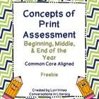This concepts of print assessment can be used 3 times per year:  beginning, middle, and end.    It was created to pair with this Kindergarten Asses...