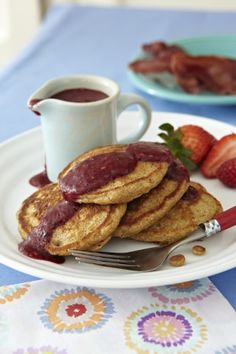 Whole-wheat banana pancakes with berry sauce.