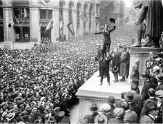 Charlie Chaplin and Douglas Fairbanks hold a rally for Liberty Bonds during WWI. Taken April, 1918