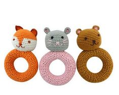 Love these handmade crocheted woodland friends teething rattles.