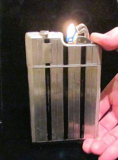 1940s Cigarette Case Lighter Vintage Cigarette Case Evans Case Lighter Evans Banner Case Art Deco Silver WORKING CASE LIGHTER