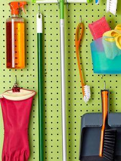 Peg board in the broom closet