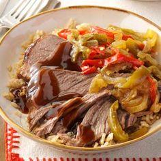Slow Cooker Pepper Steak Recipe from Taste of Home -- shared by Julie Rhine, Zelienople, Pennsylvania