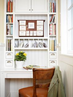 I love the idea that I can create any kind of work organizing arrangement I want and fit it into MY house! I might not do it just like this, but I was inspired by the picture.