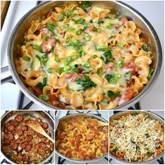 Creamy Sausage and Spinach Pasta Skillet!
