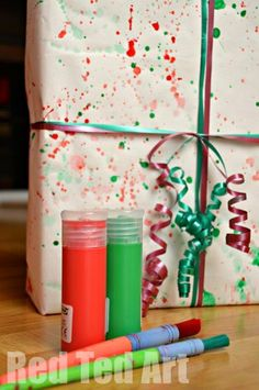 Splat Painted Wrapping Paper, so simple