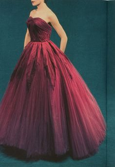 Above: Short evening dress by Marcel Rochas, circa 1950.