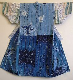 """shibori juban  A juban is a garment worn under a kimono; in the past they were often piece-constructed from """"flashy"""" or contrasting textiles, many of which were """"recycled.""""  The bodice of this juban is of hand spun, hand woven cotton that has been shibori dyed in botanical indigo"""