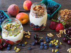 Yogurt parfaits in a mason jar for breakfasts on the go