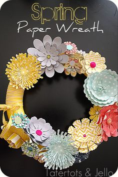 Spring Paper Wreath from Tatertots and Jello #spring #springdecor #wreath #papercrafts