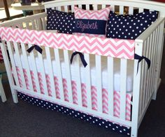 4pc Crib Bedding Set  Navy Blue Pink White  by leahashleyokc, $160.00