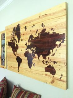 DIY Wood Stained World Map, Home office wall décor idea.