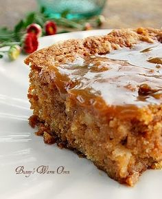 I love old fashioned cakes like this.  There are lots of apples in this cake, it's soft and moist. There's also a hot caramel sauce poured over the cake after it's baked that makes this outrageously delicious!