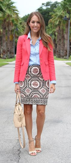 LOFT geo pencil skirt with coral blazer and chambray top geometr skirt, coral blazer, pencil skirts