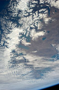 """Pinned from space by astronaut Karen Nyberg: """"Southern Chile and Argentina. Taken July 28, 2013.  KN from space."""""""