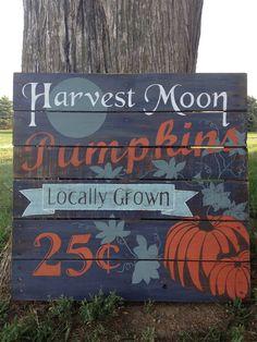 Hand Painted Vintage Pumpkin Repurposed Pallet by soulshineliving, $60.00
