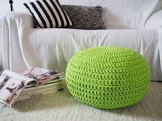 Vibrant Green Crochet Pouf  Green Crochet Floor by LoopingHome