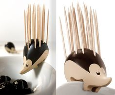 WARNING: This #cute and classy #hedgehog #toothpick dispenser might get more compliments than the #food you're serving. -- #kitchntech #kitchen #gadget